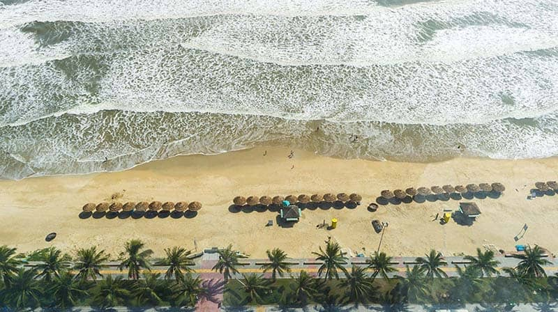 da nang beach bird view